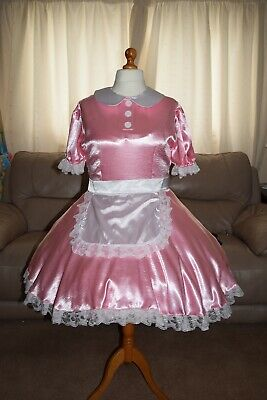 Amazing Pink Satin Adult Sissy Maids Dress with white Apron and Trim size 18