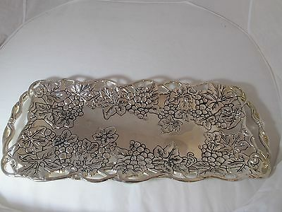 Silver Plate Serving Tray Platter By Godinger Grape/Leaf Design