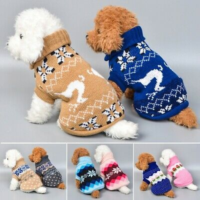 Pet Dog Winter Warm Jumper Pullover Sweater Small Medium Dog Clothes Outwear Lot
