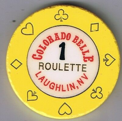 Colorado Belle Hotel Yellow 1 Roulette Casino Chip Laughlin Nevada