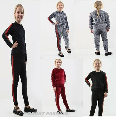 New Kids Girls Velour Stripe Tracksuit Kids Top & Bottom Set Velvet Lounge Wear