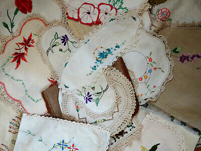 Collection 38 Assorted VINTAGE Embroidered D'OYLEYS / DOILIES Beautiful!