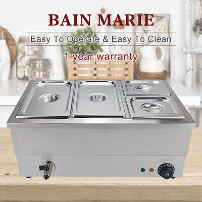 Commercial Food Warmer Bain Marie Electric Wet & Dry Catering Heating 4 Pots