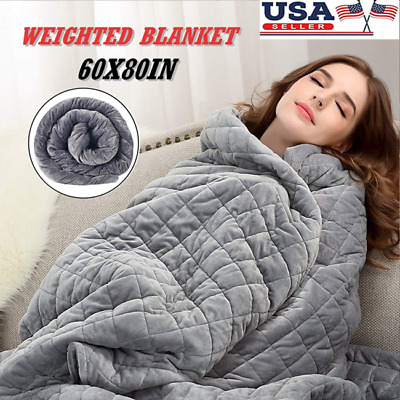 """60""""x80"""" Weighted Blanket Cover Full Queen Size Reduce Stress Anxiety Deep Sleep"""