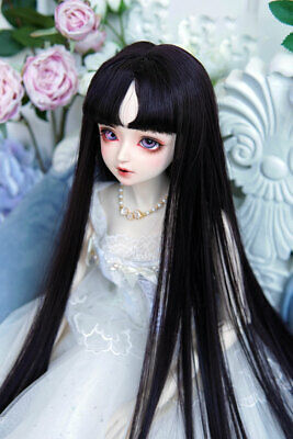 "1//3 8-9-10/"" Bjd Pullip Doll Long Wig Hair Jet Black Straight Special Iron Perm"