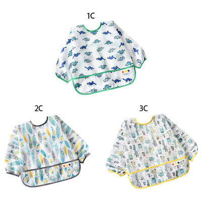 Baby Toddler Feeding Bibs Long Sleeve Polyester Burp Smock Apron Cartoon Print