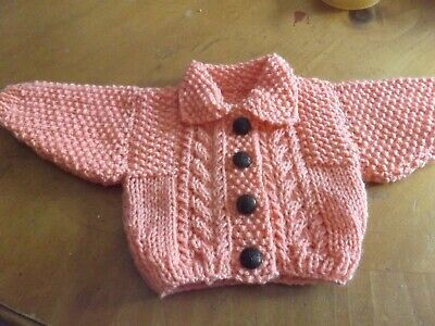 Brand New Hand Knitted Baby Girls Salmon Pink Aran Cardigan With Collar