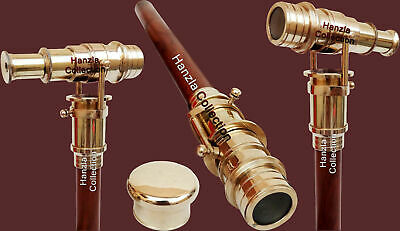 Nautical Walking Stick With Brass Telescope Foldable Hidden Spy Gift Wooden Cane