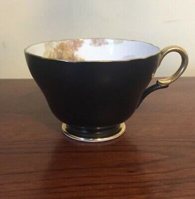 Shelley Teacup Black Matte + Gold Gilt England Fine Bone China Rare Vintage