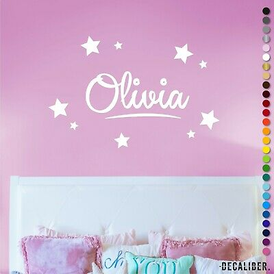 Large Personalised Name w/ Stars Sticker Decal Wall Boys Girls Childrens Nursery