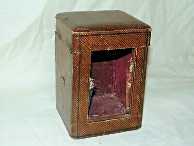 Original Antique Leather Brass Carriage Clock Case Box Travel Holder