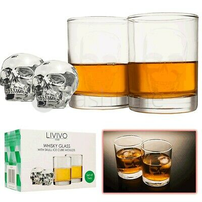 2 x Whiskey Glasses Gift Set with Silicone Shape Skull Ice Moulds Tumblers Bar
