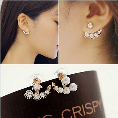 Chic Women Gold Pearl Rhinestone Crystal Back Ear Stud Cuff Earrings Jewellery