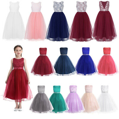 Kids Lace Flower Girl Dress Wedding Pageant Bridesmaid Formal Party Tutu Dresses
