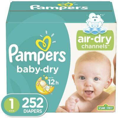 Diapers Newborn / Size 1 (252 Count) (8-14 lb) Pampers Baby Dry Disposable Baby