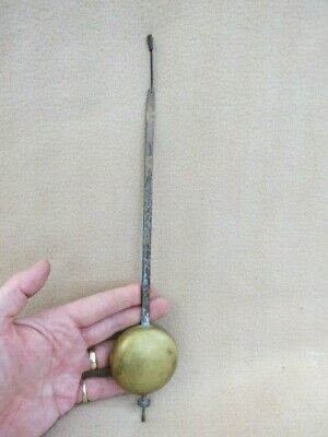 Large Heavy Antique Brass And Steel Clock Pendulum