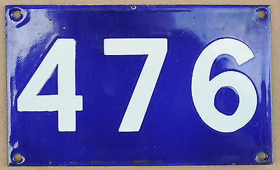 Old Australian used house number 476 door gate enamel metal sign in French blue