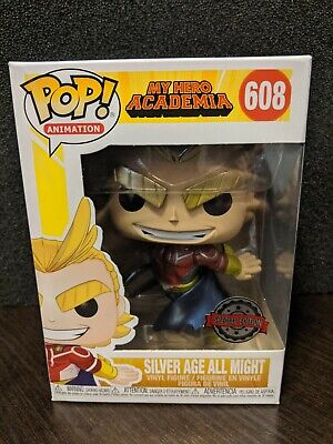 ✨Mint✨In Hand✨Funko Pop!✨Silver Age All Might Metallic #608✨My Hero Academia✨