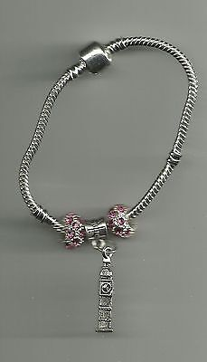 Silver Plated Bracelet with Big Ben Charm & Crystal Beads