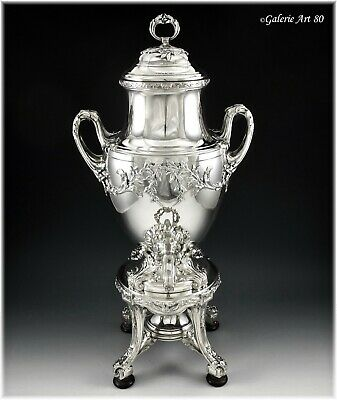 COMBEAU : Antique French Sterling Silver Samovar / Tea Urn Louis XVI style