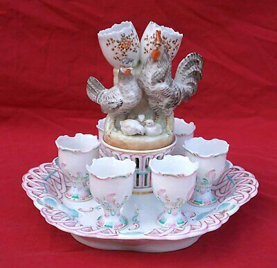 Antique German Porcelain Egg Cups Holder Rooster Hen Dresden Sitzendorf 19th C