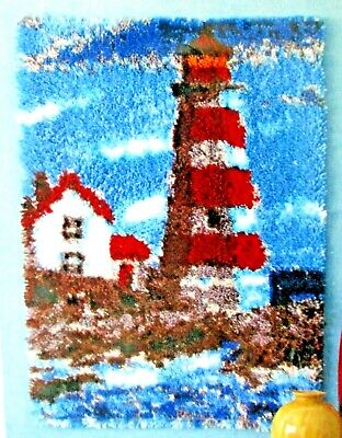 "LATCH HOOK RUG  KIT   ""LIGHTHOUSE POINTE RUG"" Nautical theme by Mary Maxim"