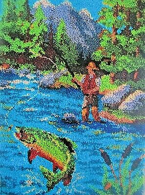 "LATCH HOOK  RUG KIT   ""FLY FISHING"" Scenic fishing rug by Herschners"