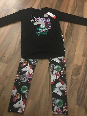 Bnwt Girls Christmas Clothes. Leggings And Long Top Outfit Set Age 9-10 New