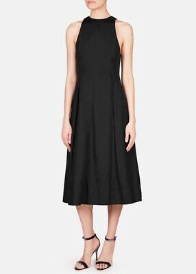 Protagonist Black Dress Fit And Flare Pleated High Neck Sleeveless Midi Length
