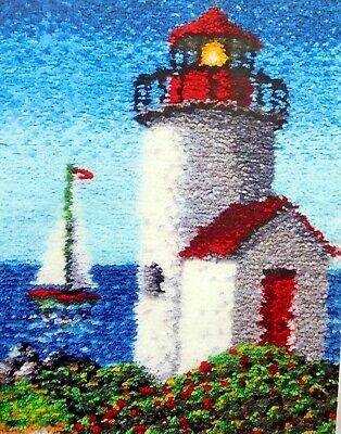 "LATCH HOOK RUG  KIT ""WHITE LIGHTHOUSE"" Nautical rug by craftways"
