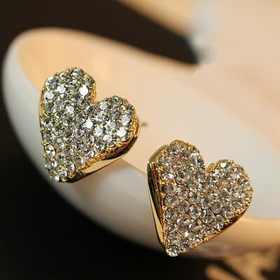 Fashion Women Lady Heart Ear Stud Earrings Crystal Rhinestone Party Jewellery