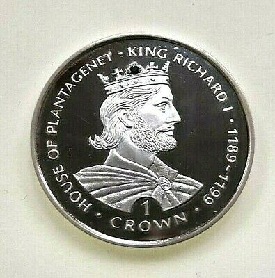 Gibraltar 1999 King Richard I Sapphire Crown Jewels Silver Proof