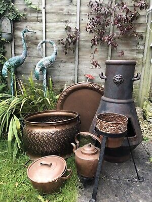 Scandinavian Copper Coal Log Storage Bucket Large Charger Pot Plant Stand Norway