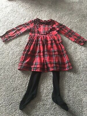 Next Girls Red Check Tartan Long Sleeved Dress & Tights Set Outfit 4-5 Years