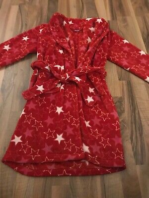 M&S Girls Fluffy Dressing Gown Robe Red Soft Fleece Age 9-10