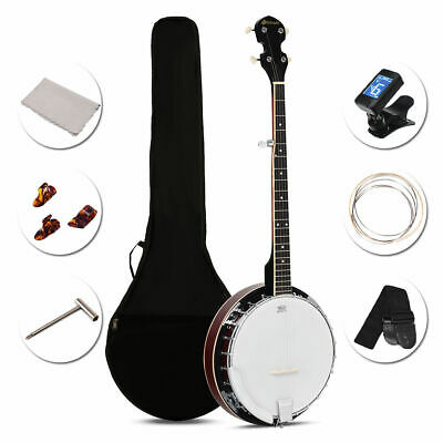 5 String Geared Tunable Banjo 24 Brackets Adjustable Drum Closed Back With Case