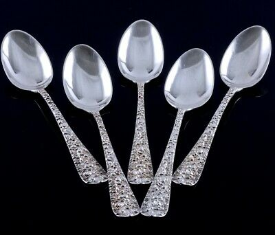 Fine Set Of 5 Stieff Sterling Silver Rose Pattern Repousse 5-5/8 Inch Tea Spoons
