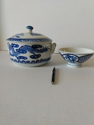 Antique Chinese Hand Painted Blue & White Dragon Lidded Rice Pot and Bowl.