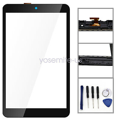"""Touch Glass Screen Digitizer + Frame Fit For Alcatel 3T 8"""" Tablet T-Mobile 9027W"""