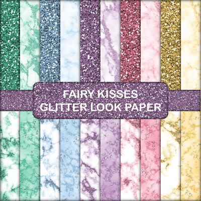 FAIRY KISSES GLITTER LOOK SCRAPBOOK PAPER - 20 x A5 Pages