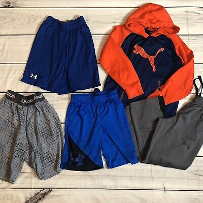 Under Armour Puma Lot of 5 Shorts Pants Sweatshirt Hoodie Boys Size Small AA1