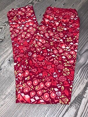 LuLaRoe kids L/XL Pink Yellow Red Flowers New leggings 8-12 NWT Large Xlarge
