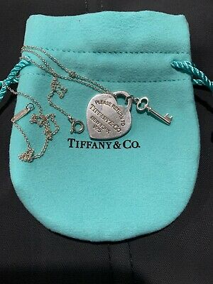 Authentic Tiffany & Co. Necklace Return to Heart Key Sterling Silver MINT/ POUCH