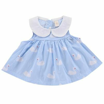 A-Line Party Wedding Floral Skirt Sleeveless Baby Girls Dress Swan Printing