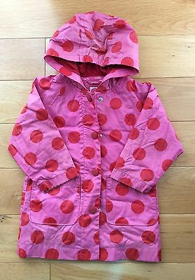 Baby GAP Kids Waterproof Girls Raincoat with Hood Age 3 Years Pink/Red Spots