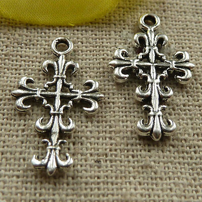 free ship 95 pieces Antique silver cross charms 21x13mm #3864