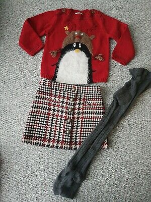 Girls Next Xmas Jumper Skirts Tights Outfit Set Age 2-3 Years
