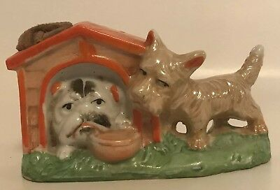 Ceramic Scottie Terrior Pincushion Bulldog in Doghouse Japan Whimisical Vtg