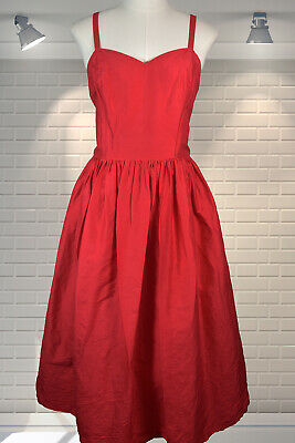 Adorable Vintage 1980s Silk Full Skirt Sweetheart Neckline Cocktail Dress - S