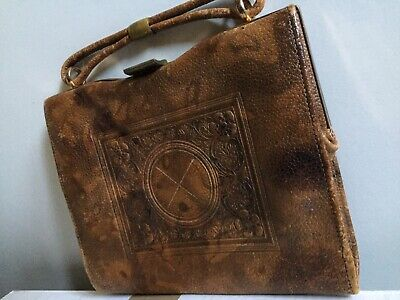 Vintage Hand Tooled Jemco Purse Handbag Bag Leather Frame Stamp Collectable Rare